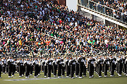 The Ohio University Marching Band performs during halftime during the homecoming football game on homecoming weekend on Saturday, October 13, 2012..Photo by Chris Franz