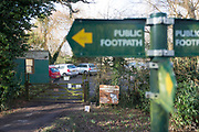 UNITED KINGDOM, Beenham: 18 January 2018 A general view of the entrance to The UK Wolf Conservation Trust in Berkshire where a wolf has escaped from the sanctuary after a fence was allegedly blown down by the strong winds.  Rick Findler  / Story Picture Agency