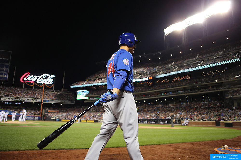 NEW YORK, NEW YORK - July 02: Anthony Rizzo #44 of the Chicago Cubs heads from the dugout to bat during the Chicago Cubs Vs New York Mets regular season MLB game at Citi Field on July 02, 2016 in New York City. (Photo by Tim Clayton/Corbis via Getty Images)