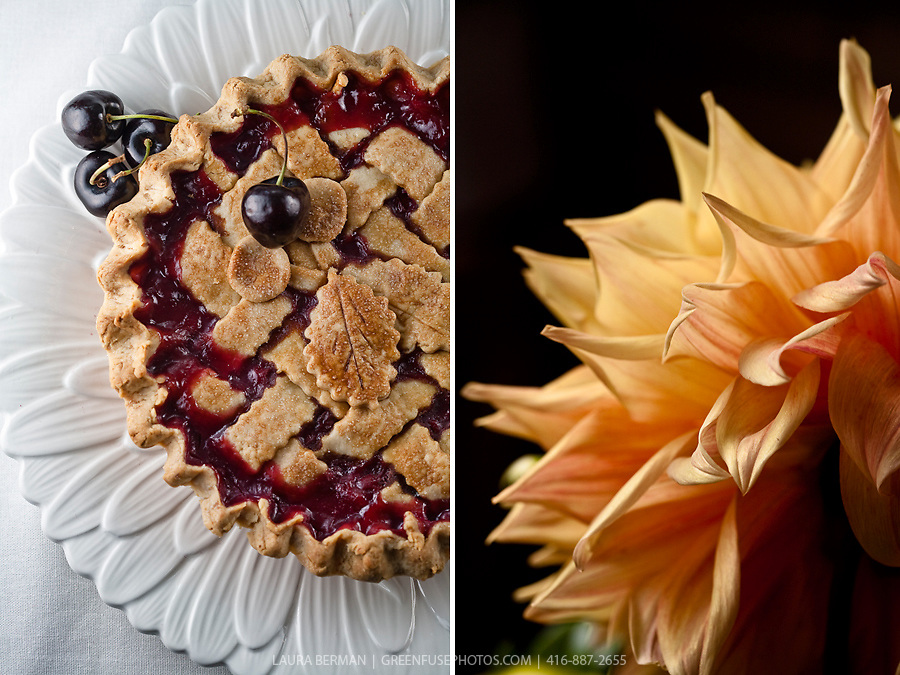 Cherry pie and Dalia flower by Laura Berman- GreenFuse Photos.