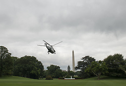 June 17, 2017 - Washington, District of Columbia, United States of America - Marine One carrying United States President Donald J. Trump, first lady Melania and their son Barron, departs the White House Camp David, the Presidential retreat near Thurmont, Maryland, in Washington, DC, USA, 17 June 2017..Credit: Michael Reynolds / Pool via CNP (Credit Image: © Michael Reynolds/CNP via ZUMA Wire)