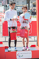 Mihoko Nishijima from the Women's T11-13 IPC race on the podium at the Virgin Money London Marathon 2014 at the finish line on Sunday 13 April 2014<br /> Photo: Dillon Bryden/Virgin Money London Marathon<br /> media@london-marathon.co.uk