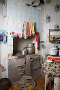 Russian kitchen interior with rundown stove