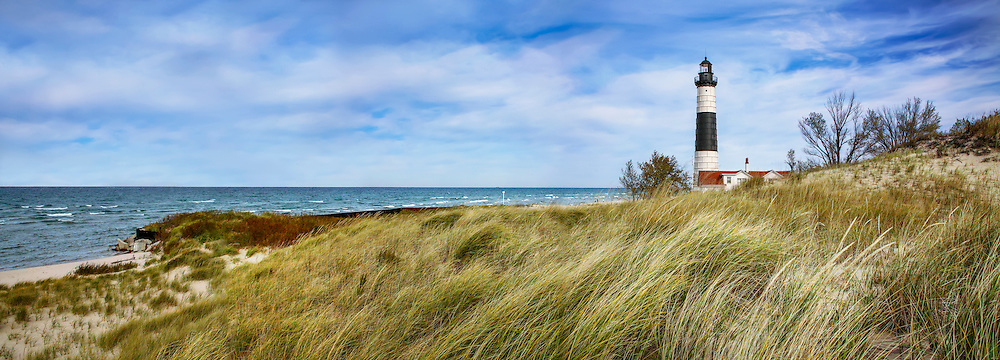 Beach Grass At Big Sable Point Lighthouse Along Lake Michigan, Ludington State Park, Lower Peninsula, Michigan, USA