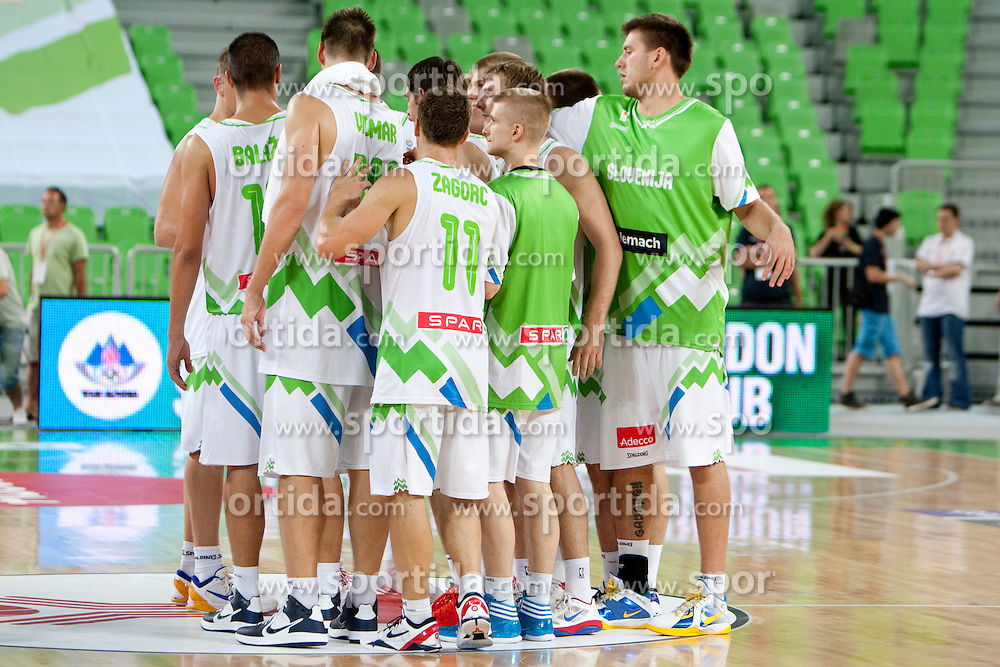 Team Slovenia after friendly basketball match between National teams of Slovenia and Bosnia i Hercegovina of Adecco Ex-Yu Cup 2012 as part of exhibition games 2012, on August 3rd, 2012, in Arena Stozice, Ljubljana, Slovenia. (Photo by Urban Urbanc / Sportida)