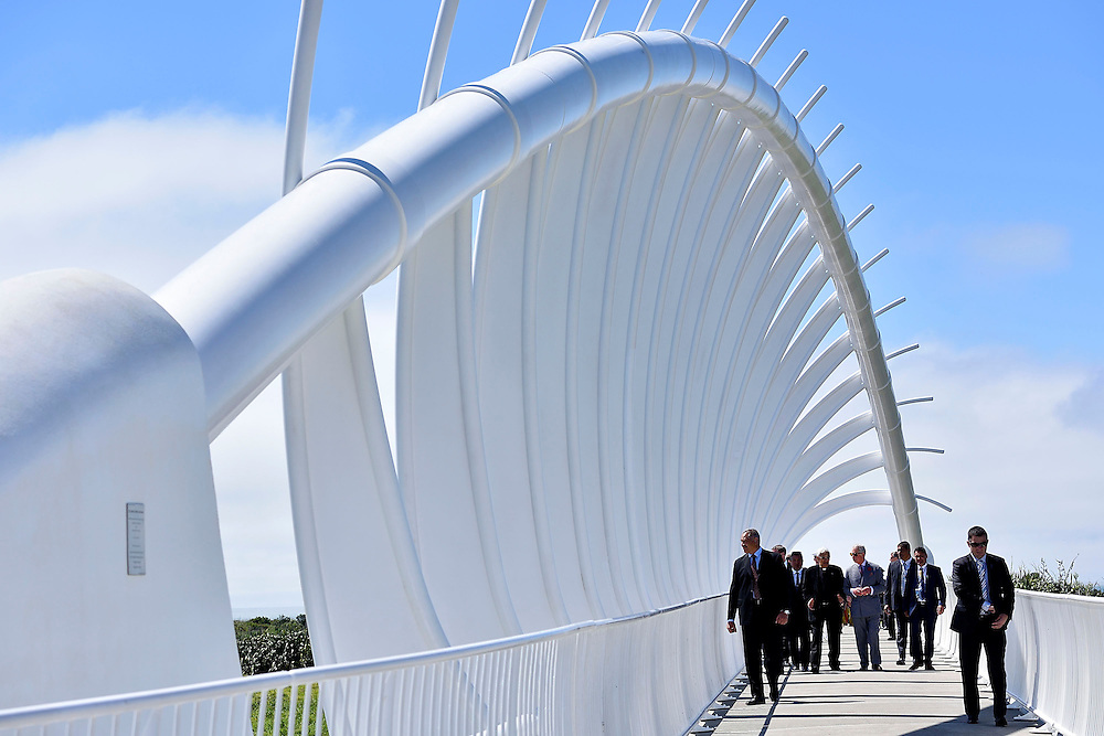 Prince Charles, Prince of Wales, walks over the Te Rewa Rewa bridge, part of the Coastal Walkway on the coastal walkway, New Plymouth, New Zealand, New Zealand, Monday, November 09, 2015. Credit:SNPA / AFP, Marty Melville  **POOL**