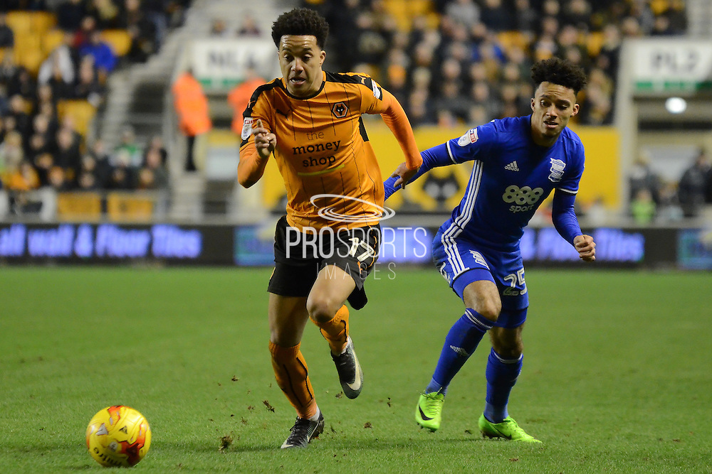 Wolverhampton Wanderers striker Helder Costa (17) gets away from Birmingham City defender Josh Dacres-Cogley (25) 0-2 during the EFL Sky Bet Championship match between Wolverhampton Wanderers and Birmingham City at Molineux, Wolverhampton, England on 24 February 2017. Photo by Alan Franklin.