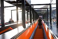 Europe, Germany, Ruhr Area, Essen, industry monument Zeche Zollverein, escalator to the visitor centre.....Europa, Deutschland, Ruhrgebiet, Essen, Industriedenkmal Zeche Zollverein, Rolltreppe zum Besucherzentrum in der ehemaligen Kohlenwaesche.