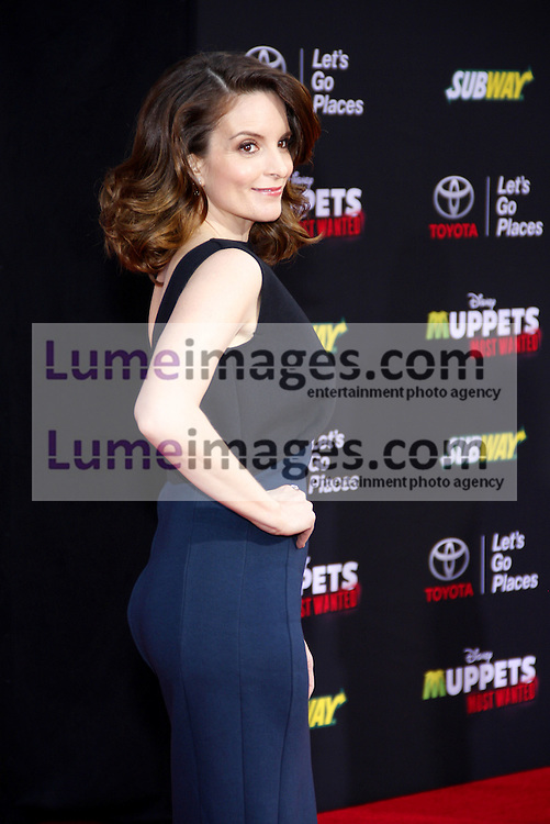 "Tina Fey at the Los Angeles premiere of ""Muppets Most Wanted"" held at the El Capitan Theatre in Los Angeles, United States, 110314."