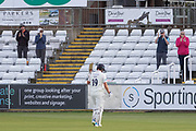 Alex Lees finally out for 181 during the Specsavers County Champ Div 2 match between Durham County Cricket Club and Leicestershire County Cricket Club at the Emirates Durham ICG Ground, Chester-le-Street, United Kingdom on 18 August 2019.