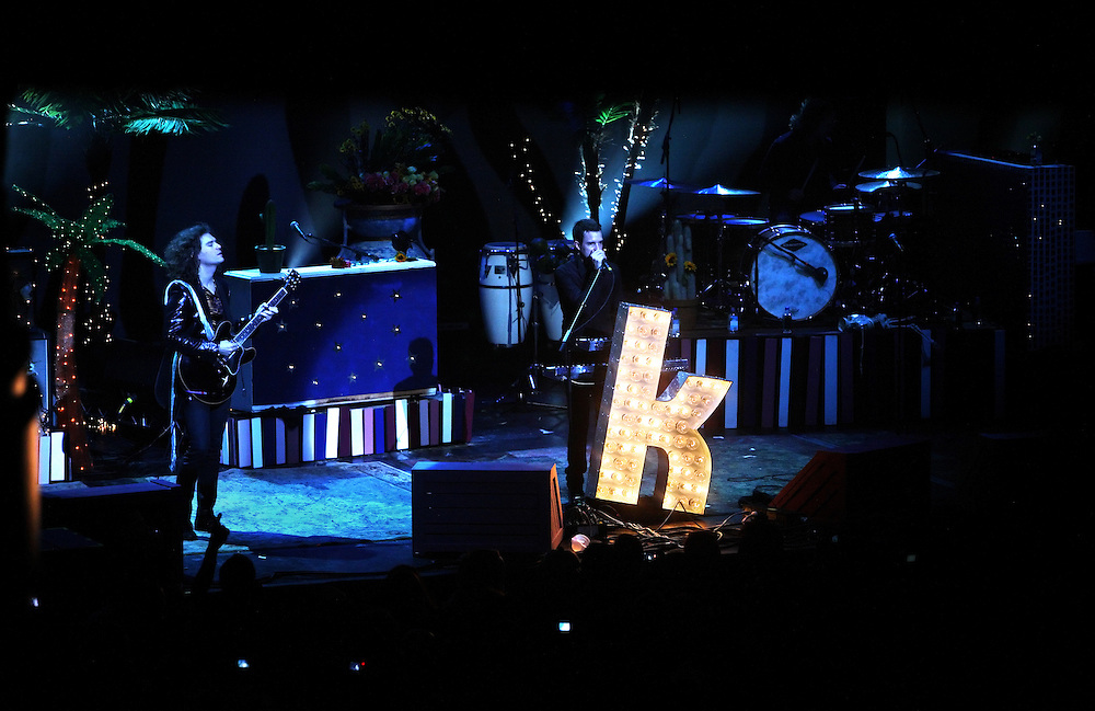 The post-punk band The Killers perform at the Hammerstein Ballroom at Manhattan Center Studios in New York, N.Y. on Oct. 24, 2008. Guitarist Dave Keuning and singer Brandon Flowers perform onstage.