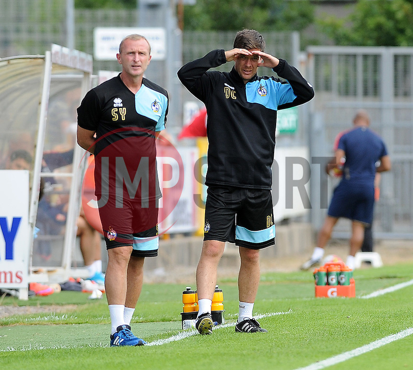 Bristol Rovers manager, Darrell Clarke and Steve Yates - Photo mandatory by-line: Neil Brookman/JMP - Mobile: 07966 386802 - 18/07/2015 - SPORT - Football - Bristol - Memorial Stadium - Pre-Season Friendly