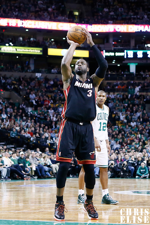 27 January 2013: Miami Heat shooting guard Dwyane Wade (3) is seen at the free throw line during the Boston Celtics 100-98  2OT victory over the Miami Heat at the TD Garden, Boston, Massachusetts, USA.