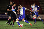 U21 Brighton and Hove Albion's Jesse Starkey and U21 Newcastle United's Dan Ward during the Barclays U21 Premier League match between U21 Brighton and Hove Albion and U21 Newcastle United at the Checkatrade.com Stadium, Crawley, England on 23 March 2016.
