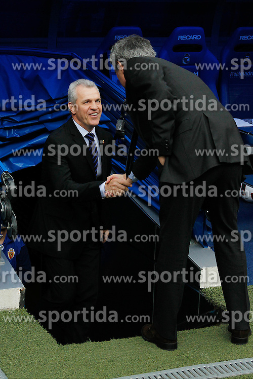 30.04.2011, Stadio santiago de Bernabeu, Madrid, ESP, Primera Division, Real Madrid vs Real Saragossa, im Bild Real Madrid's Jose Mourino and Zaragoza's Javier Aguirre during Spanish League match on April 30, 2011. EXPA Pictures © 2011, PhotoCredit: EXPA/ Alterphotos/ Cid Fuentes +++++ ATTENTION - OUT OF SPAIN / ESP +++++