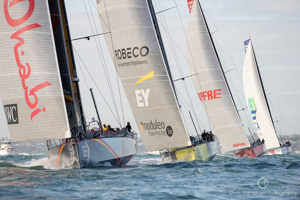 The Volvo Ocean Race fleet start leg 5 in the Waitamata Harbour Auckland bound for Itajai, Brazil. Abu Dhabi Ocean Racing are second behind Dongfeng Race Team heading to the first turning mark.18/3/2015