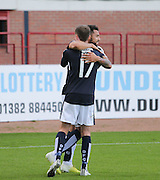 Nick Ross congratulates Kane Hemmings after the striker had headed home Dundee's second goal - Dundee v St Johnstone at Dens Park <br /> - Ladbrokes Premiership<br /> <br />  - &copy; David Young - www.davidyoungphoto.co.uk - email: davidyoungphoto@gmail.com