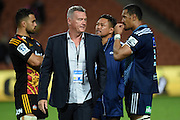 Sir John Kirwan during the Super Rugby match between The Chiefs and The Blues at Waikato Stadium in Hamilton, New Zealand. Saturday 4 April 2015. Copyright Photo: Andrew Cornaga / www.Photosport.co.nz