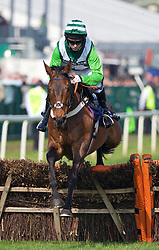 LIVERPOOL, ENGLAND - Thursday, April 9, 2015: Rock On Ruby, ridden by Noel Fehily, during the fourth race, the Doom Bar Aintree Hurdle Grand, on the Opening Day on Day One of the Aintree Grand National Festival at Aintree Racecourse. (Pic by David Rawcliffe/Propaganda)