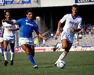 08.09.1985.Bruno Giordano of Napoli rounds Guerrini of Como .©Juha Tamminen