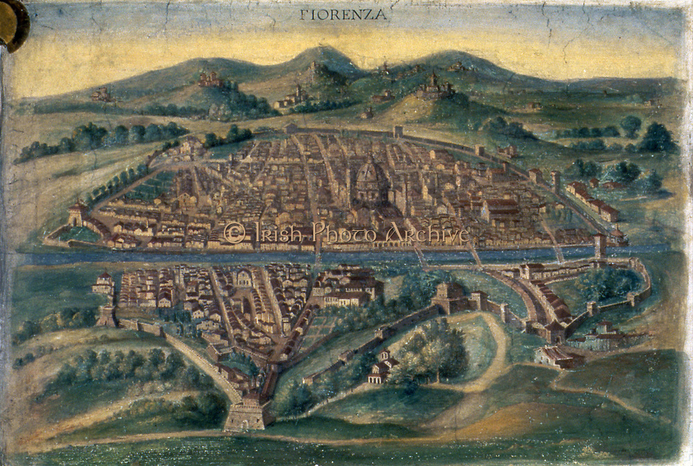 Map of Florence - anonymous 15th century Italian map.