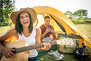 Tent camping near Cedar Springs, Michigan.