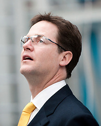 RE-ISSUE NOTE THIS IS A TODAY PICTURE © London News Pictures. 10/03/2012. Newcastle, UK. Liberal Democrat leader NICK CLEGG wearing protective glasses while on a tour of Siemens Energy Service Training Centre in Newcastle Upon Tyne on March 11th 2012 where he met craft apprentices with Business Secretary VINCE CABLE. The Liberal Domocrat Spring Conference is being held in Newcastle this weekend. Photo credit : Ben Cawthra/LNP