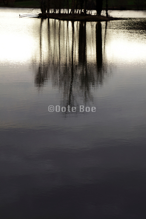 little island in a lake with trees reflecting in water