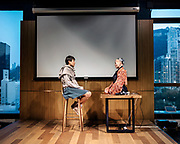 """DUring  """"Love Ai """" experiment where Sophia does a Guided meditation session with a young student at the University of Hong Kong."""