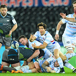 Maxime Machenaud of Racing 92 gets the ball away during the European Rugby Challenge Cup, Pool 4 match between Ospreys and Racing 92 on December 7, 2019 in Bristol, United Kingdom. (Photo by Paul Lockyer / Icon Sport) - Liberty Stadium - Swansea (Pays de Galles) - Liberty Stadium - Swansea (Pays de Galles)