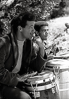 Musican playing drums and singing in SanFrancisco California in  the 1960's
