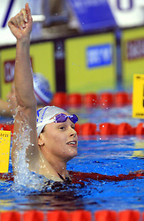 Federica Pellegrini of Italy reacts after winning the women's 200m freestyle race in 1 min 51 sec 85/100 setting a new world record during day 4 of LEN European Short Course Swimming Championships Rijeka 2008, on December 14, 2008,  in Kantrida pool, Rijeka, Croatia. (Photo by Vid Ponikvar / Sportida)