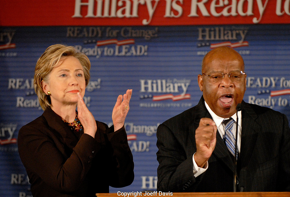 ATLANTA, GA - OCT 12, 2007: Georgia Representative and civil rights hero John Lewis announces his endorsement of Hillary Clinton for president October 12, 2007 at Pascals restaurant in Atlanta, Georgia. In February 2008 Lewis dropped his endorsement for Clinton and instead announced he was for Barack Obama.