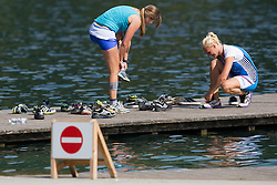Girls and boots during rowing at Slovenian National Championship and farewell of Iztok Cop, on September 22, 2012 at Lake Bled, Ljubljana Slovenia. (Photo By Matic Klansek Velej / Sportida)