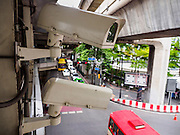 01 SEPTEMBER 2015 - BANGKOK, THAILAND:  CCTV, closed circuit television cameras, watch the public in the Ratchaprasong Intersection in Bangkok. There are reported to be more than 10,000 CCTV cameras in Bangkok, although many are said to be nonfunctional or otherwise broken. Thai police said CCTV cameras helped them track the bomber who killed 20 people at Erawan Shrine, which is in Ratchaprsong.     PHOTO BY JACK KURTZ