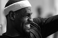 BEAVERTON, OR - NOVEMBER 19:  LeBron James works out during a Nike NBA SPARQ training event in Beaverton, Oregon on November 19, 2011.  (Photo by Jed Jacobsohn)