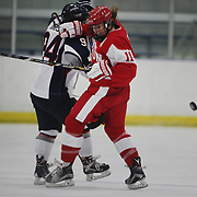 Dakota Woodworth, (right), Boston University, challenges Leah Buress, UConn, during the UConn Vs Boston University, Women's Ice Hockey game at Mark Edward Freitas Ice Forum, Storrs, Connecticut, USA. 5th December 2015. Photo Tim Clayton