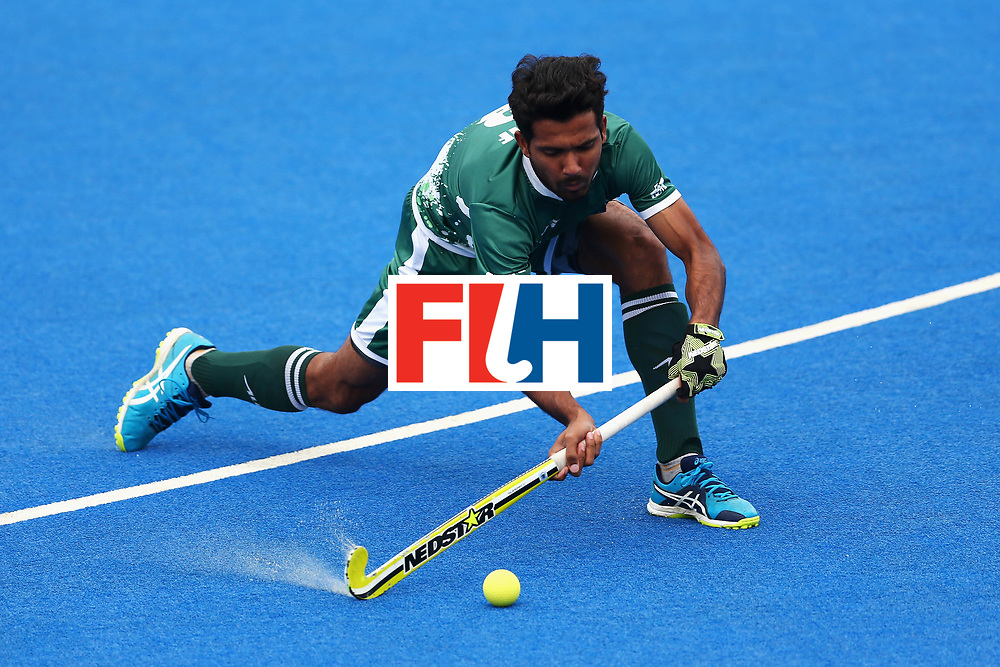 LONDON, ENGLAND - JUNE 25: Muhammad Mushtaq of Pakistan in action during the 7th/8th place match between Pakistan and China on day nine of the Hero Hockey World League Semi-Final at Lee Valley Hockey and Tennis Centre on June 25, 2017 in London, England.  (Photo by Steve Bardens/Getty Images)