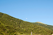the moon sets over the Pyrenees mountains at Fuerte de Sta Elena (The fort at Santa Elena), Pyrenees Mountains, Huesca province, Aragon, Spain