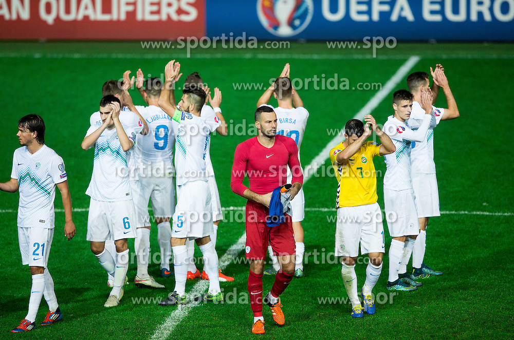 Samir Handanovic of Slovenia and other players of Slovenia during the EURO 2016 Qualifier Group E match between Slovenia and Lithuania, on October 9, 2015 in SRC Stozice, Ljubljana Slovenia. Photo by Vid Ponikvar / Sportida