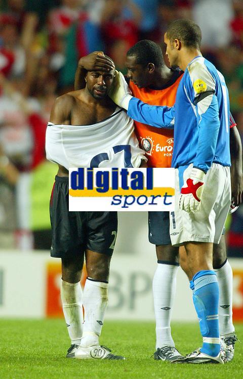 Photo: Scott Heavey, Digitalsport<br /> England v Portugal, Quarter Final, Luz Stadium, Lisbon. 24/06/2004.<br /> Darius Vassell cries after missing his penalty