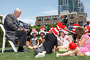 San Diego,CA - NEA Read Across America-NEA President Dennis Van Roekel reads to kids at PETCO Park Tuesday in San Diego,Ca. as part of the Read Across America program.( Photo/ Scott Iskowitz/ RA TODAY)