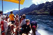 Boat ride, Napali Coast, Kauai, Island of Hawaii<br />