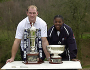 12/02/2004 Six Nations Rugby, England Captain's Press Conference, Pennyhill Park- Bagshot.Lawrence Dallaglio [left] and England Women's Captain Maxine Edwards..   [Mandatory Credit, Peter Spurier/ Intersport Images].