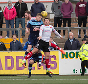 Forfar's Thomas O'Brien and Clyde's David Gormley battle in the air during Forfar's 3-0 win over Clyde in SPFL League Two  at Station Park, Forfar, Photo: David Young<br /> <br />  - &copy; David Young - www.davidyoungphoto.co.uk - email: davidyoungphoto@gmail.com