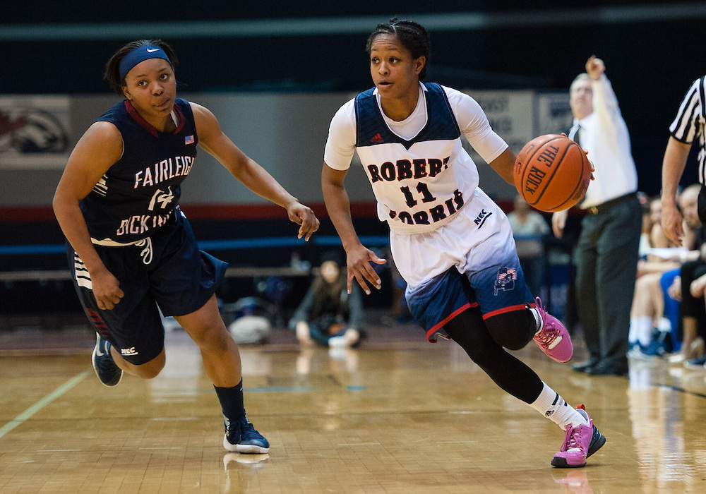 March 6 2016: Robert Morris Colonials guard Janee Brown (11) brings the ball up court during the second half in the NCAA Women's Basketball game between the Fairleigh Dickinson Lady Knights and the Robert Morris Colonials at the Charles L. Sewall Center in Moon Township, Pennsylvania (Photo by Justin Berl)