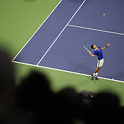 Roger Federer, Switzerland, celebrates winning the Men's Singles Final against Novak Djokovic, Serbia, during the US Open Tennis Tournament, Flushing, New York, USA. 13th September 2015. Photo Tim Clayton