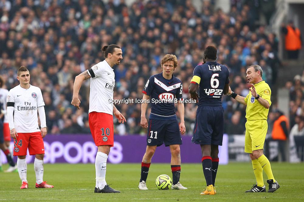 Arbitre Lionel Jaffredo / Zlatan Ibrahimovic - 15.03.2015 - Bordeaux / Paris Saint Germain - 29e journee Ligue 1<br />Photo : Manuel Blondeau / Icon Sport