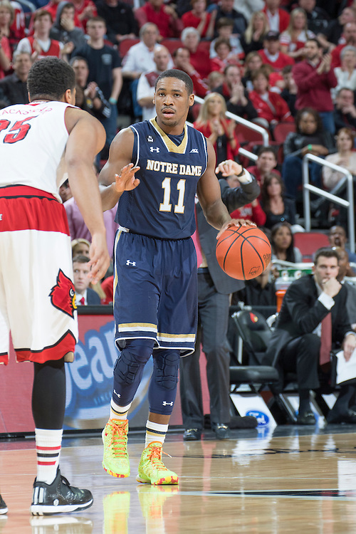 Notre Dame guard Demetrius Jackson. <br /> <br /> The University of Louisville hosted Notre Dame, Wednesday, March 04, 2015 at Yum Center in Louisville. <br /> <br /> Photo by Jonathan Palmer