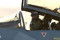 """03 NOV 2003, LAAGE/GERMANY:<br /> Pilot in einem Eurofighter EF 2000 """"Typhoon"""" hier die zweisitzigen Ausbildungsversion, neues Jagdflugzeug der Bundesluftwaffe, kurz vor dem Start, Jagdgeschwader 73 """"Steinhoff"""", Fliegerhorst Laage<br /> IMAGE: 20031103-01-083<br /> KEYWORDS: Bundeswehr, Bundesluftwaffe, Jet, Kampfflugzueg, am Boden"""